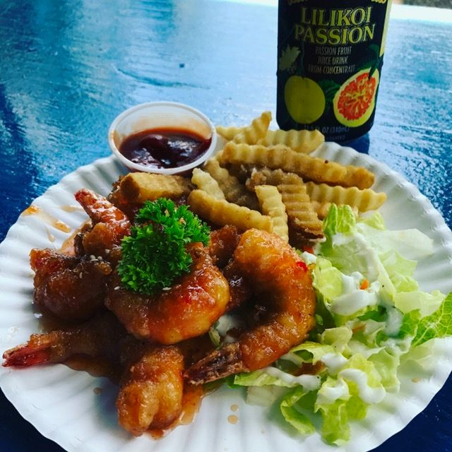 Chili shrimp, one of many options from the fleet of shrimp trucks on the North Shore of Oahu.