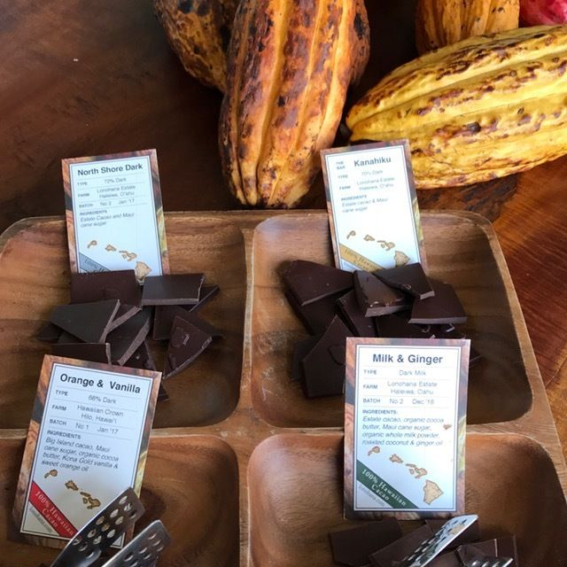 A sampling of chocolate at  Lonohana's small production facility, located in an old industrial district in Honolulu that is s