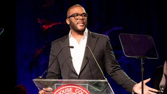 ATLANTA, GA - FEBRUARY 18:  Producer/Director Tyler Perry speaks on stage as he receives the Candle Award in Philanthropy, Arts and Entertainment during the Morehouse College 29th annual student scholarship event at the Hyatt Regency Atlanta on February 18, 2017 in Atlanta, Georgia.  (Photo by Marcus Ingram/WireImage)