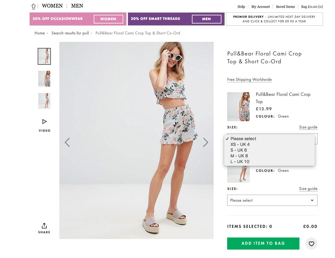 Size 10 Pull&Bear Top Listed As 'Large' On ASOS And People Are (Understandably) Not