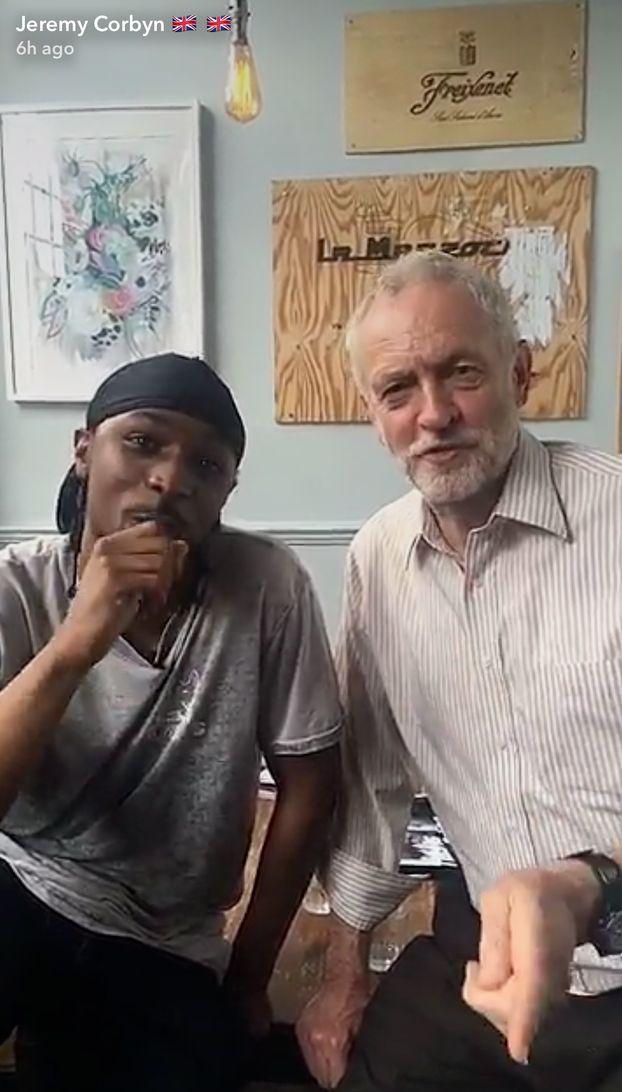 Corbyn talks politics with Grime artist JME on his
