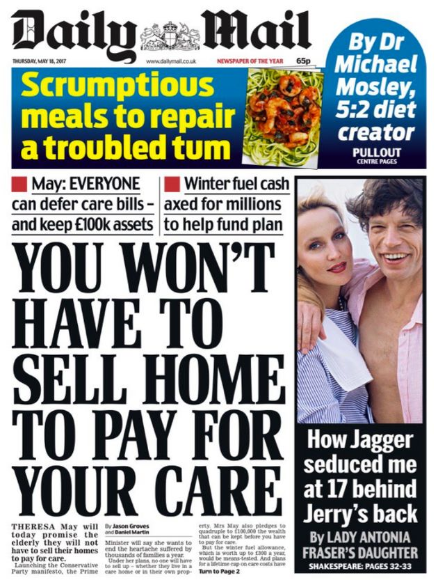 Daily Mail Front Page On Tory Manifesto Slammed For Hypocrisy Over Death
