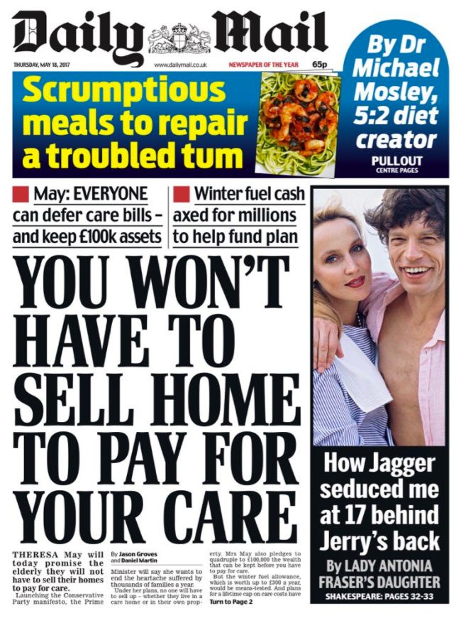 Daily Mail Front Page On Tory Manifesto Attacked For Changing Tune On 'Death