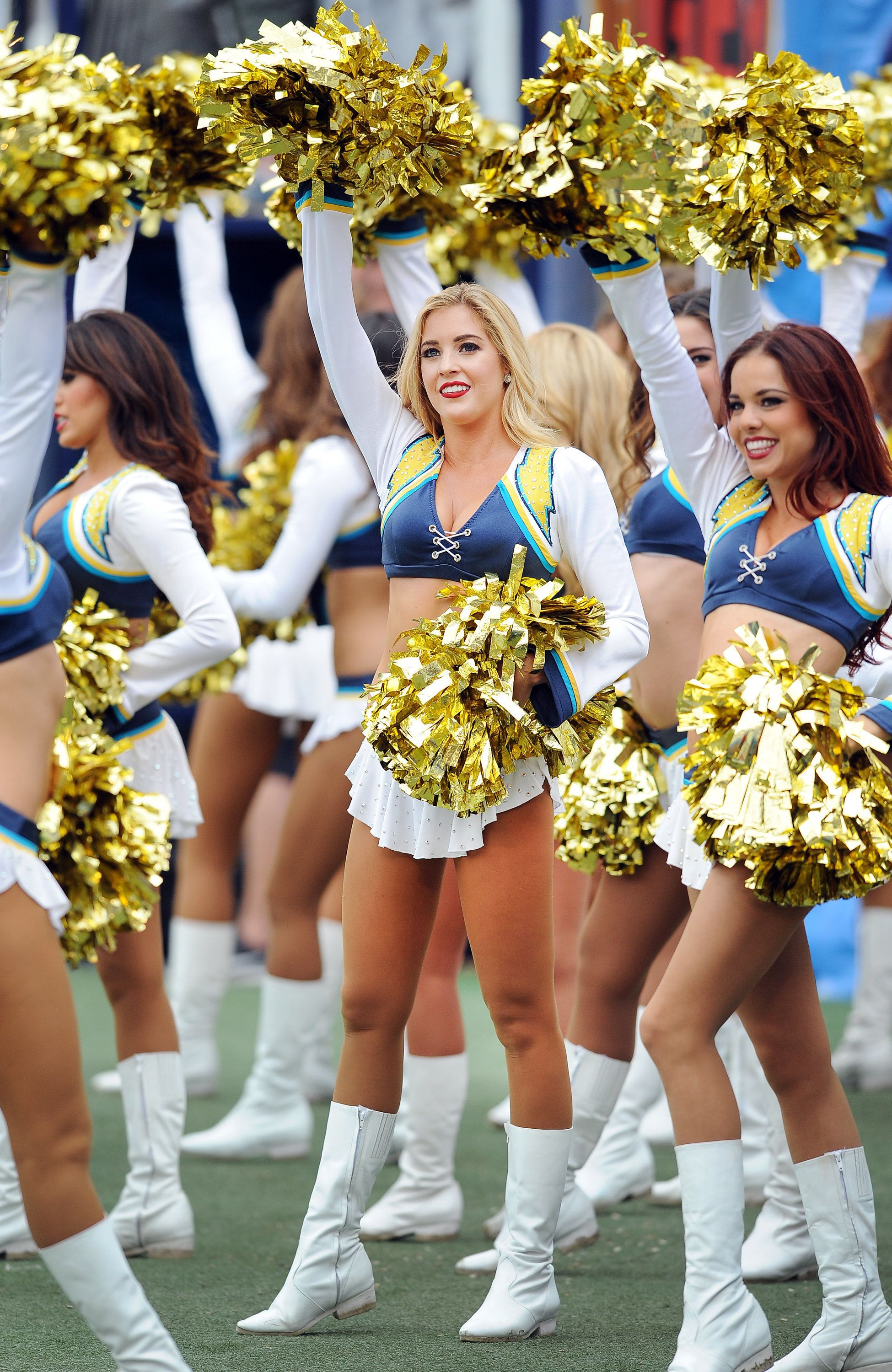 04 Oct. 2015: San Diego Chargers cheerleaders on the field during a game against the Cleveland Browns played at Qualcomm Stadium in San Diego, CA. (Photo By John Cordes/Icon Sportswire) (Photo by John Cordes/Icon Sportswire/Corbis via Getty Images)