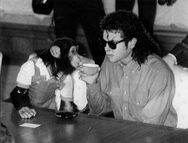 Michael Jackson sips tea with Bubbles on Sept. 18, 1987, in Osaka, Japan.