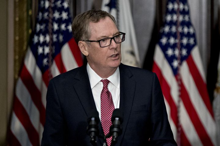 U.S. Trade Representative Robert Lighthizer speaks after being sworn in on Monday. He notified Congress of the administration