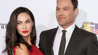 BEVERLY HILLS, CA - OCTOBER 11:  Actors Megan Fox (L) and Brian Austin Green (R) attend Ferrari's 60th Anniversary In The USA Gala at the Wallis Annenberg Center for the Performing Arts on October 11, 2014 in Beverly Hills, California.  (Photo by Paul Archuleta/FilmMagic)