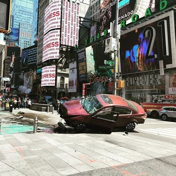 The car that ran into pedestrians in Times Square on Thursday, May 18, 2017.