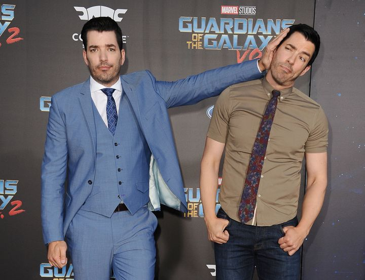 Jonathan Scott and Drew Scott attend the premiere of 'Guardians of the Galaxy Vol. 2' on April 19, 2017 in Hollywood, California.