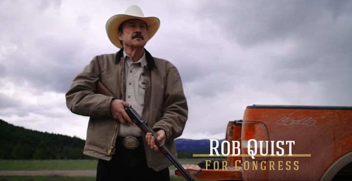 Democrat Rob Quist just before successfully bagging a TV set in a recent ad. Quist is up against Republican Greg Gianforte in