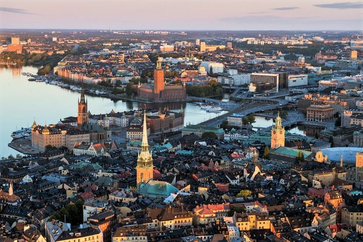 An aerial view of Stockholm's Old Town, Gamla Stan, in central Stockholm, site of Sweden's Royal Palace, Riddar Church, Stock