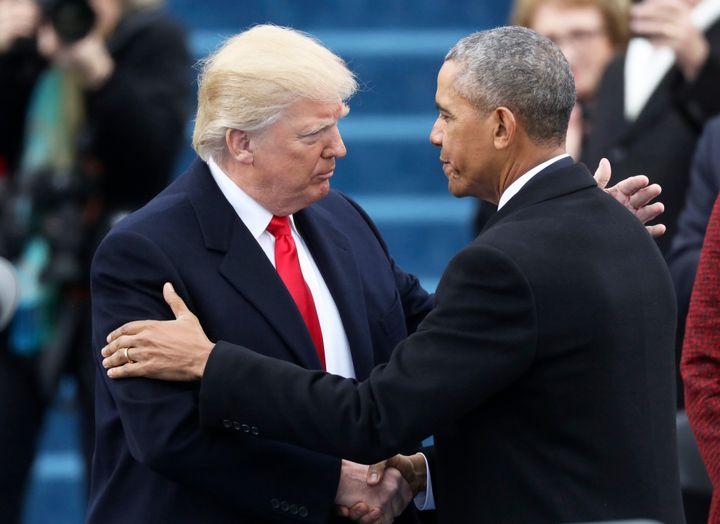 Barack Obama greets Donald Trump at Trump's inauguration on Jan. 20, 2017.