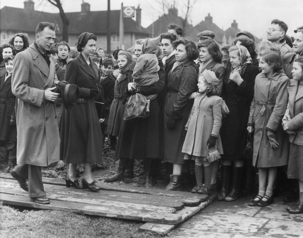 Queen Elizabeth II visits Tilbury after the flood in February 1953.