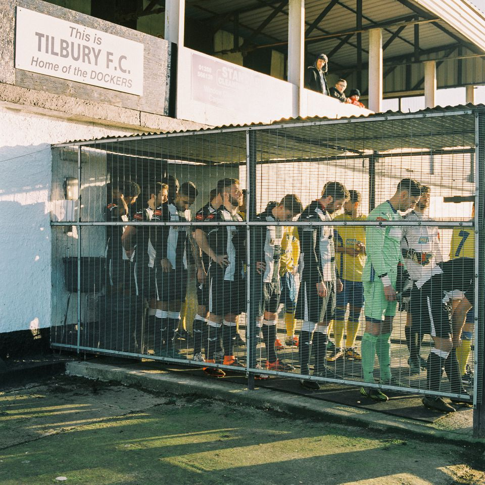 Tilbury F.C. and Haringey Borough F.C. line up in the tunnel at Chadfields ground on Jan. 14 in Tilbury,