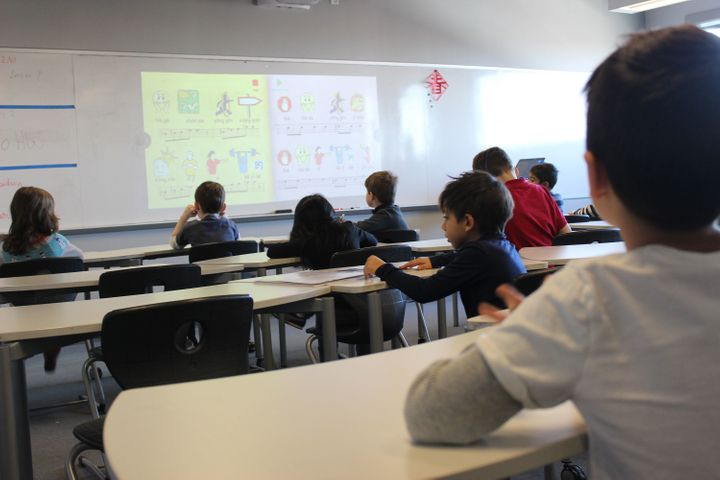 Elementary students at BASIS learn a song as part of their Mandarin lessons.