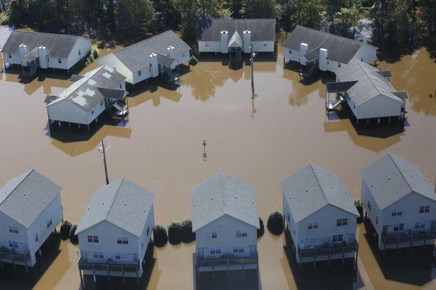 Apartments inGreenville, North Carolina, are seen flooded byHurricane Matthew onOct....