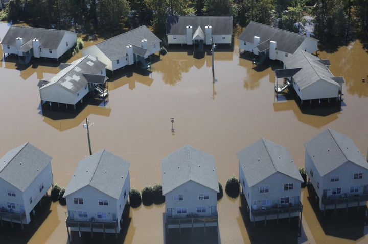 Apartments in Greenville, North Carolina, are seen flooded by Hurricane Matthew on Oct. 11, 2016.