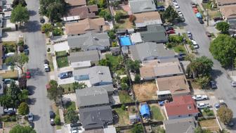 Aerial view of suburban neighborhood in San Jose, California, USA.
