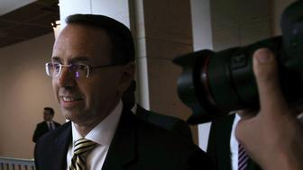 WASHINGTON, DC - MAY 18:  U.S. Deputy Attorney General Rod Rosenstein arrives at the Capitol for a closed briefing May 18, 2017 on Capitol Hill in Washington, DC. Rosenstein participated in a closed briefing for senators to discuss the removal of former FBI Director James Comey.  (Photo by Alex Wong/Getty Images)
