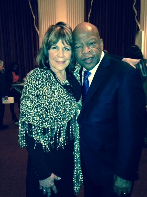 Mary Liuzzo Lilleboe with U.S. Representative John Lewis in Washington, D.C. for the 50th anniversary of the Selma to Montgom