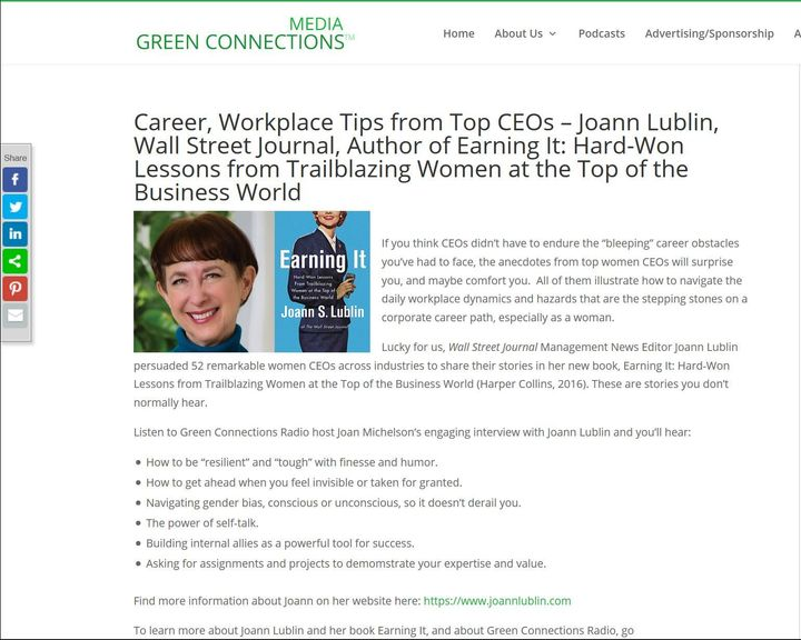 <p>GreenConnectionsRadio.com, Joann Lublin page</p>