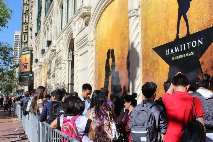 "Students line up to see ""Hamilton"" in San Francisco on May 3, 2017."
