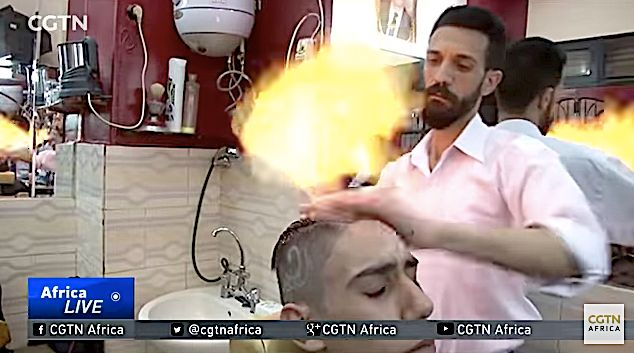 Hot Barber Styles Clients' Hair With Great Balls Of
