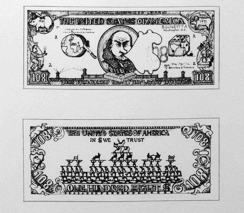 Oyvind Fahlstrom: $108 Dollar Bill, 1973