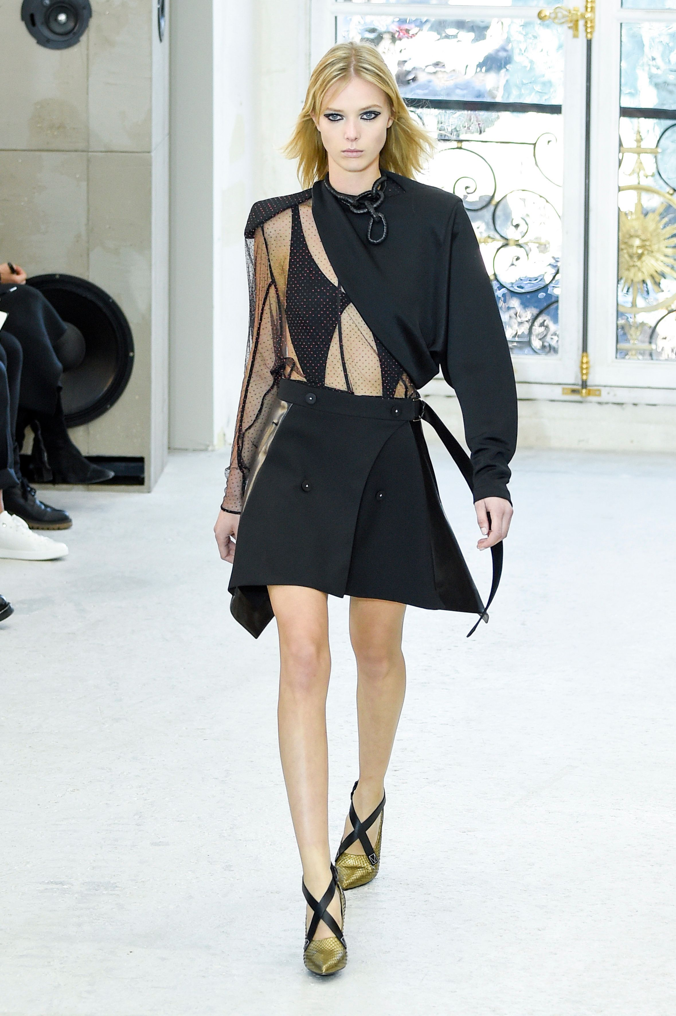 Model Ulrikke Hoyer walks the runway during the Louis Vuitton show as part of the Paris Fashion Week...