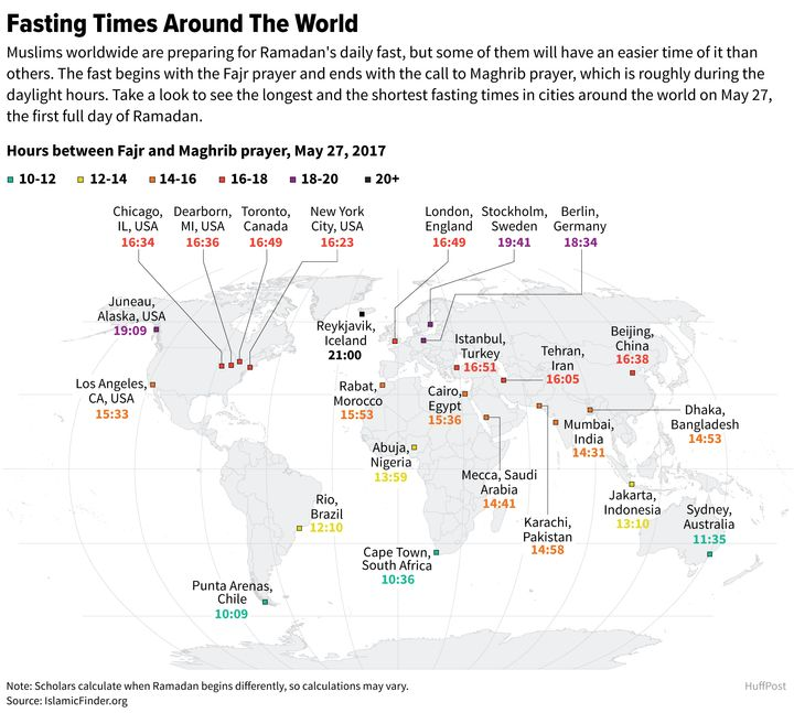 Here's How Long Muslims Fast Around The World | HuffPost