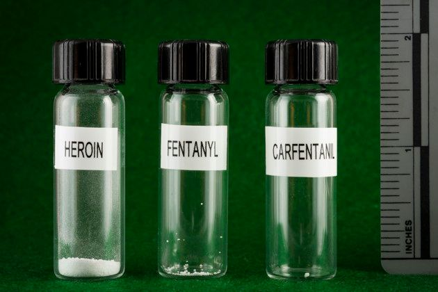 Comparing the size of lethal doses of heroin, fentanyl, and carfentanil. The vials here contain an artificial sweetener for i