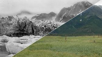 The Pedersen glacier near Aialik Bay in Alaska between 1920-1940 and then in 2005