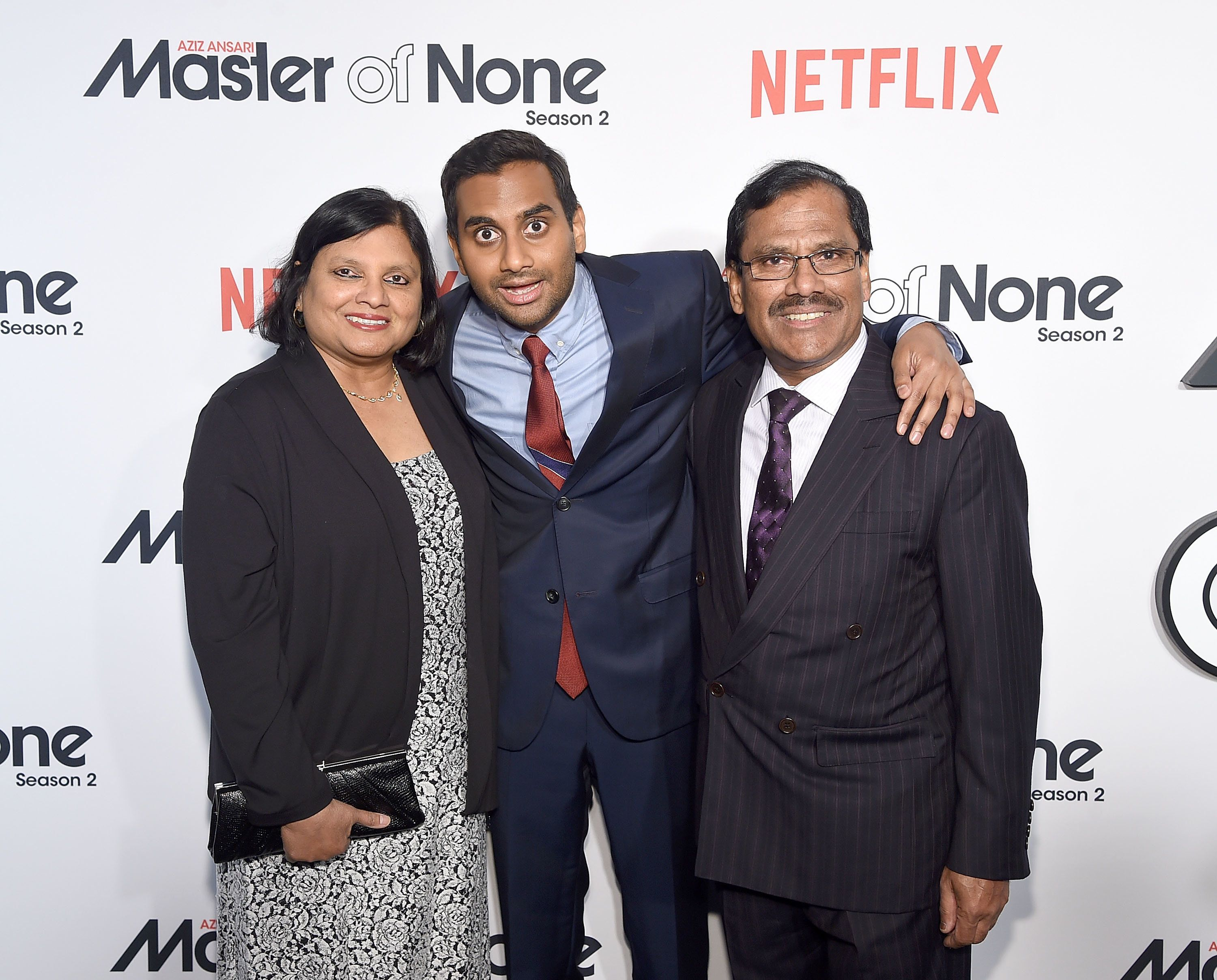 Aziz Ansari (center) with his parents Fatima Ansari and Shoukath Ansari attend the 'Master Of None' Season 2 Premiere at SVA