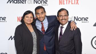 NEW YORK, NY - MAY 11:  Aziz Ansari (center) with his parents Fatima Ansari and Shoukath Ansari attend the 'Master Of None' Season 2 Premiere at SVA Theatre on May 11, 2017 in New York City.  (Photo by Jamie McCarthy/Getty Images)