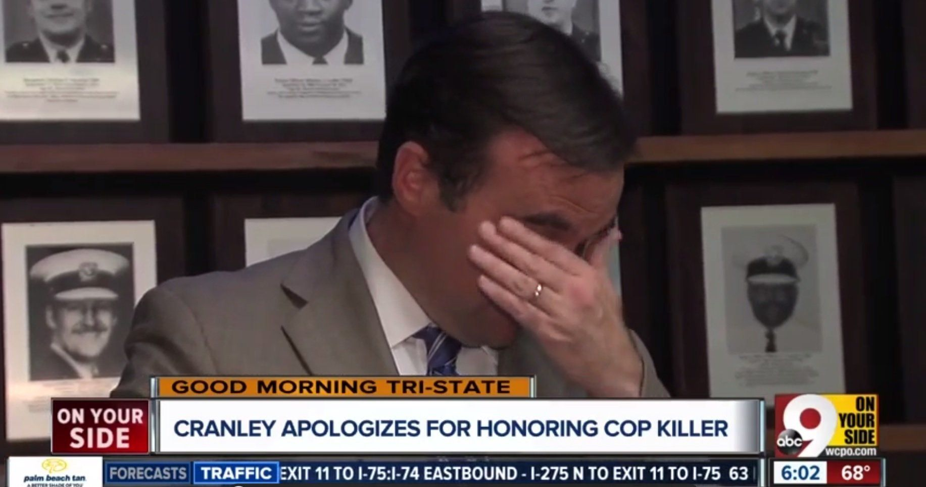 Cincinnati Mayor John Cranley has made an emotional apology after his office mistakenly issued a proclamation honoring a man who killed a city police officer