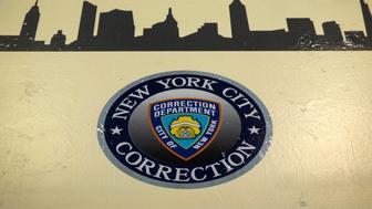 A Department of Corrections seal and a silhouette of the New York city skyline is seen painted in the Enhanced Supervision Housing Unit at the Rikers Island Correctional facility in New York March 12, 2015. New York City is proposing to reduce violence among inmates at its troubled Rikers Island jail by limiting visitors, adding security cameras and separating rival gangs, Mayor Bill de Blasio announced on Thursday. REUTERS/Brendan McDermid (UNITED STATES - Tags: CRIME LAW CIVIL UNREST)