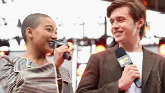 LOS ANGELES, CA - MAY 07:  Hosts Amandla Stenberg(L) and Nick Robinson attend the 2017 MTV Movie And TV Awards Festival at The Shrine Auditorium on May 7, 2017 in Los Angeles, California.  (Photo by Emma McIntyre/Getty Images)