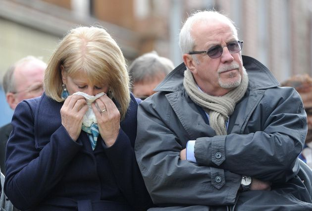 Colin Parry with wife Wendy during a memorial service for the Warrington bomb
