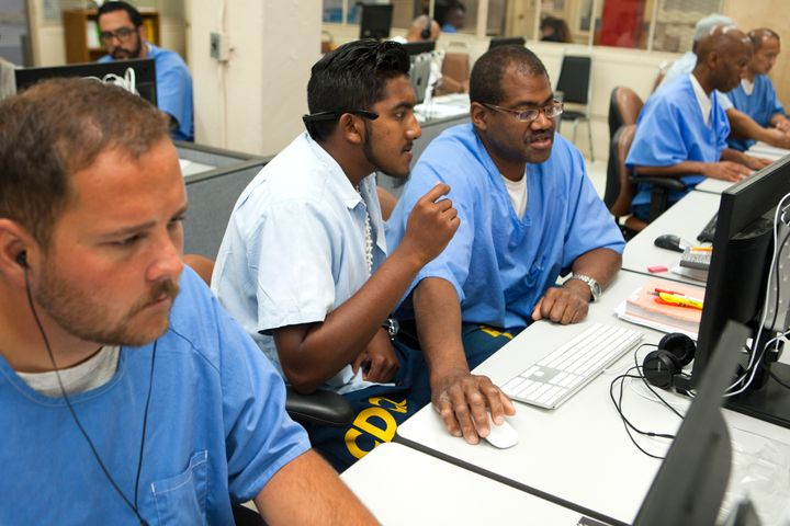 Inmates serving time at San Quentin prison learn how to code as part of The Last Mile program. Inmates learning a skill helps