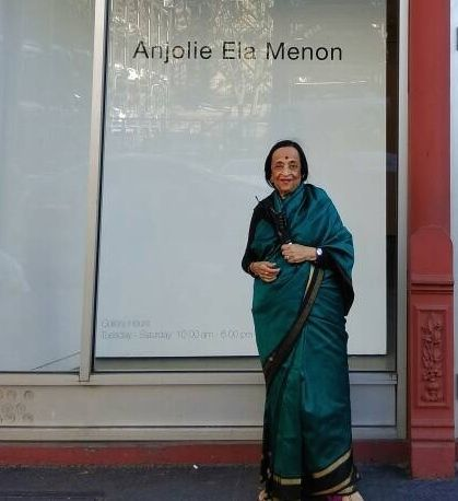 Anjolie Ela Menon outside Aicon Gallery