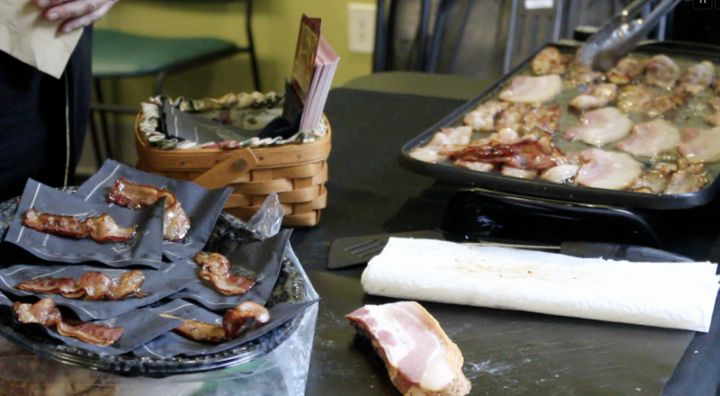 Of course, there are LOTS of thick-cut bacon samples involved.