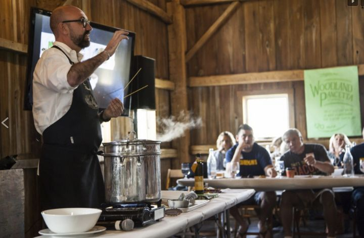 ChefRolando Beramendi holds a cooking demonstration at last year's Camp Bacon.