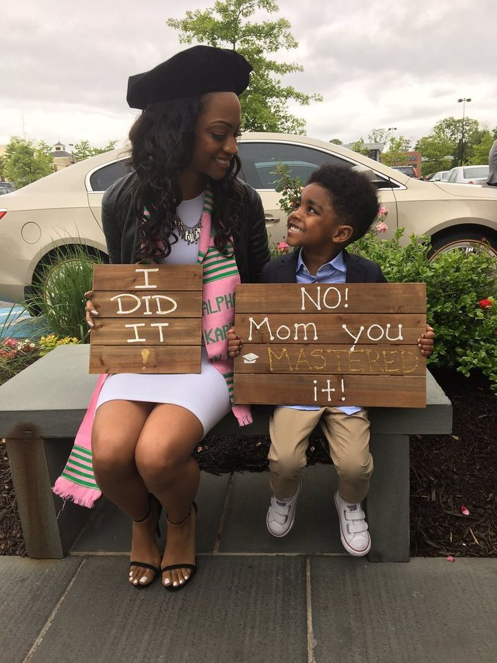 Brittney Brooks and her 4-year-old son, Mason, celebratedthe day she earned her master's degree with a now viral photo.