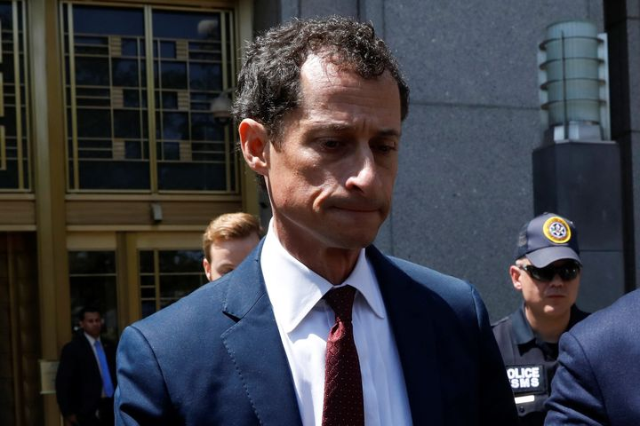 Former Rep. Anthony Weiner exits federal court Friday after pleading guilty to one count of sending obscene messages to a minor.
