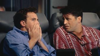 FRIENDS -- 'The One After Ross Says Rachel' Episode 1 -- Pictured: (l-r) Matthew Perry as Chandler Bing , Matt LeBlanc as Joey Tribbiani  (Photo by J. Delvalle/NBC/NBCU Photo Bank via Getty Images)