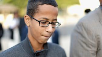 WASHINGTON, DC - OCTOBER 20:  Fourteen-year-old Ahmed Mohamed (R) of Irving, TX, arrives for a news conference outside the U.S. Capitol October 20, 2015 in Washington, DC. Mohamed was arrested by police last month when he brought a homemade electronic clock to class at MacArthur High School and officials mistook it for a bomb.  (Photo by Chip Somodevilla/Getty Images)