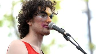 AUSTIN, TX - MARCH 16:  Singer Ben Hopkins of the band PWR BTTM performs onstage during the Pitchfork SXSW Day Party at the French Legation Museum on March 16, 2017 in Austin, Texas.  (Photo by Scott Dudelson/WireImage)
