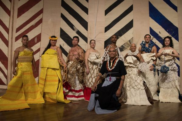 MARQUES HANALEI MARZAN (b. 1979); ʻAʻahu kino lau, opening night performance and fashion show on March 8, 2017; textile, cord
