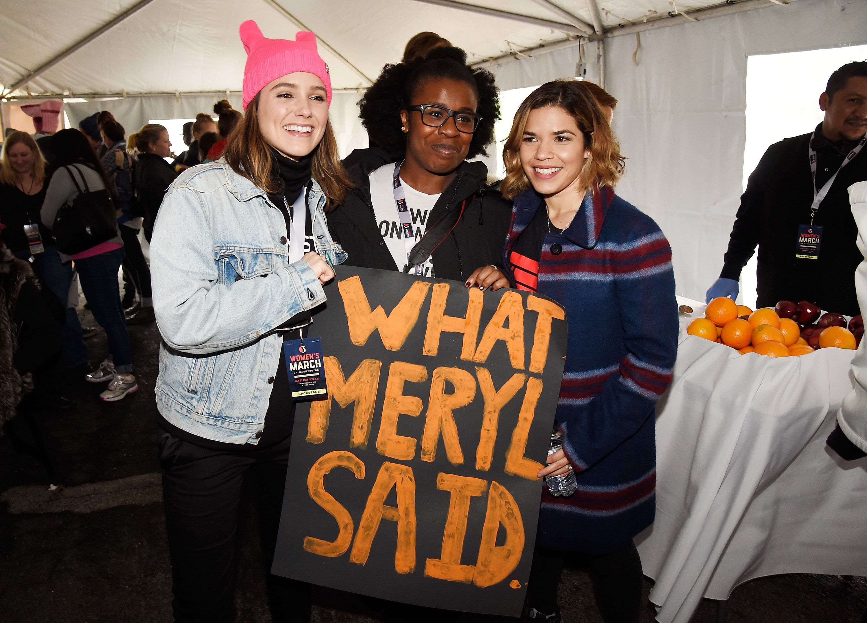 WASHINGTON, DC - JANUARY 21:  Sophia Bush, Uzo Aduba and America Ferrera attend the rally at the Women's March on Washington on January 21, 2017 in Washington, DC.  (Photo by Kevin Mazur/WireImage)