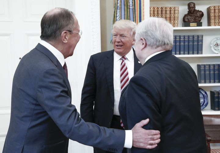WASHINGTON, D.C., USA - MAY 10, 2017: Russia's Foreign Minister Sergei Lavrov, US President Donald Trump, and Russian Ambassa